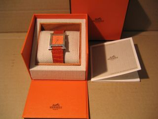 Hermes Damen Armbanduhr H Mit Orange Band Bild