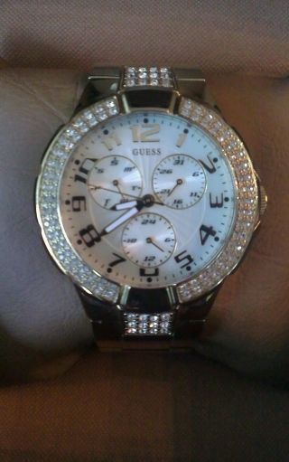 Guess Damenuhr Uhr Prism Armbanduhr Gold Strass Steine Np 220,  - Bild