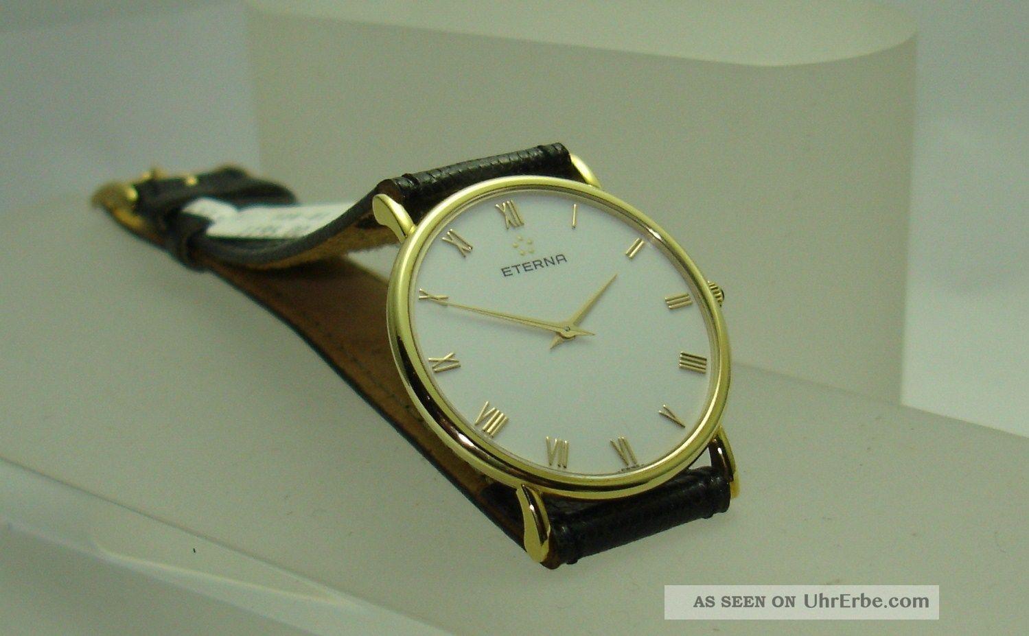Herrenuhr Eterna 585/ - Gold Lederband Flach Elegant Handaufzug Mechanisch Armbanduhren Bild