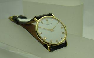 Herrenuhr Eterna 585/ - Gold Lederband Flach Elegant Handaufzug Mechanisch Bild