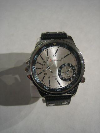 Jay Baxter - Xxl Herren Uhr Dualtimer Armbanduhr Echt Lederarmband - A1055 Bild