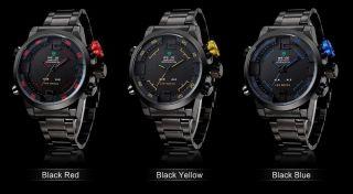 Herren Armbanduhr Mit Led Licht Digitalanzeige Datum Alarm Metalband Sportlich Bild