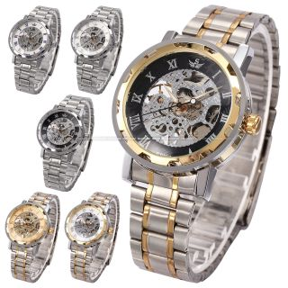 Sewor Herren Handaufzug Mechanische Uhr Metall Armbanduhr 5 Farben V Bild