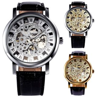Winner Herren Handaufzug Mechanische Uhr Kunstleder Armband Uhr 3 Farben Skelett Bild