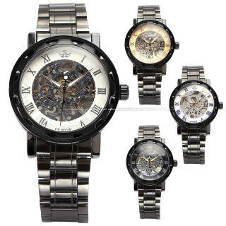 Sewor Herren Schwarz Handaufzug Mechanische Uhr Metall Armband Uhr 4 Farben Bild