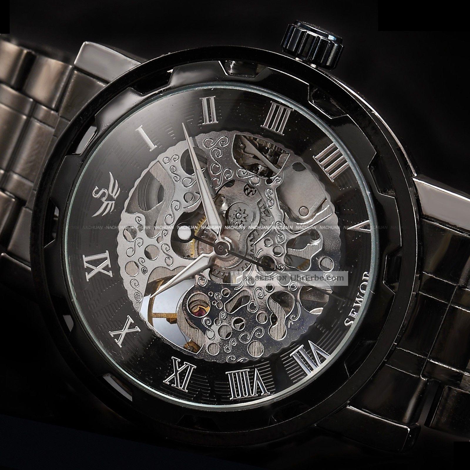 Damenuhren schwarz metall  Sewor Herren Schwarz Handaufzug Mechanische Uhr Metall Armband Uhr ...