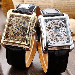 Winner Herren Rechteckige Automatik Mechanische Uhr Kunstleder Armband Skelett V Bild