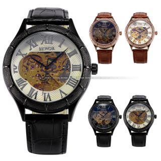 Sewor Herren Skelett Automatikuhr Automatik Mechanische Kunstleder Armband Uhr V Bild