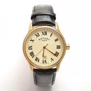 Rotary Herren - Gold überzogen Uhr Mit Schwarzem Lederarmband Gs30000 / 09 Bild