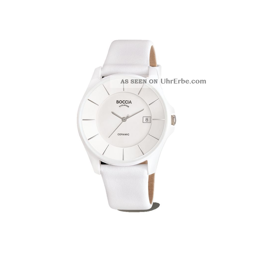 Bocci Reintitan/keramic; Weiss,  Mit Lederband,  Datum,  37 Mm,  3226 - 09 Armbanduhren Bild
