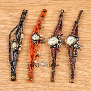 Armbanduhr Damenuhr Armreif Uhren Bracelet Watch Roman Trend Retro Lederband Bild