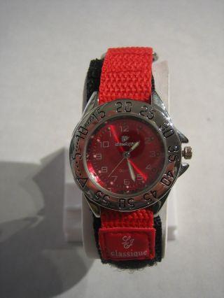 Classique - - Armbanduhr Rund Rot - Damen Textilarmband Quarz - Cl02 Bild