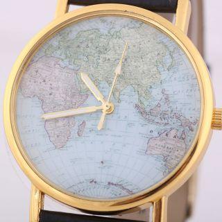 World Map Globe Mode Leder Alloy Damen Analog Quarz - Uhren Schwarz Bild