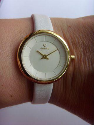 Obaku Harmony Damenuhr Vergoldet V146lgirw Lederband Weiß Dänisches Design Bild