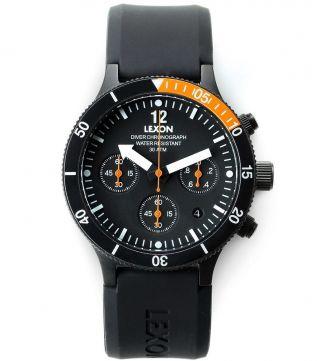 Lexon 42 Mm Taucher Chronograph 30 Atm Nemo Herrenuhr Edelstahl Uhr Watch Black Bild