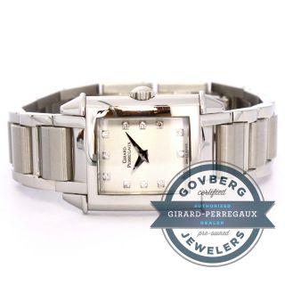 Girard - Perregaux 1945 Stahl Damen Quarzuhr Silber,  Diamant - Zifferblatt,  2592 Bild