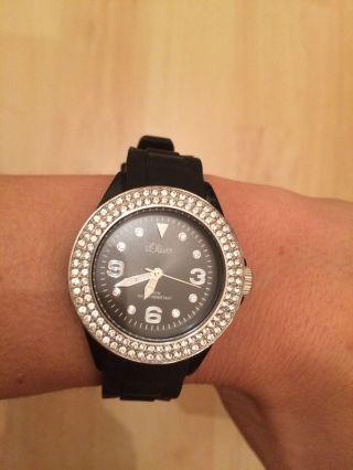 Damen Uhr S.  Oliver Silikonband So - 2447 - Pq Schwarz Strass Bild