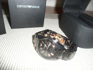 Armani Damen Uhr Chronograph Schwarz Keramik Armbanduhr Ar1411 Uvp - Bild