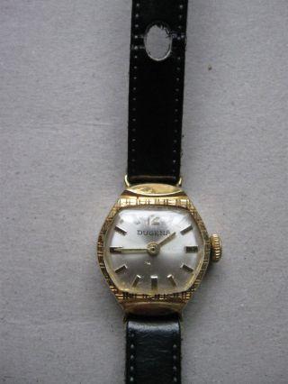 Dugena Kleine Zierliche Damenuhr Ca.  1.  8 X 2,  0 Cm Handaufzug Vergoldet Bild