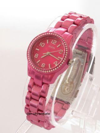 Guess Damenuhr / Damen Uhr Aluminium Pink Strass W80074l1 Bild