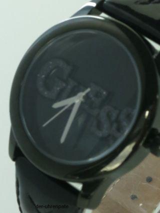 Guess Damenuhr / Damen Uhr Leder Schwarz Silber Strass W70040l2 Bild