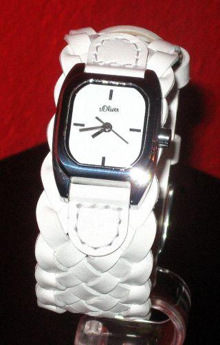 S.  Oliver Damen Armbanduhr Mit Weissem Lederband Bild