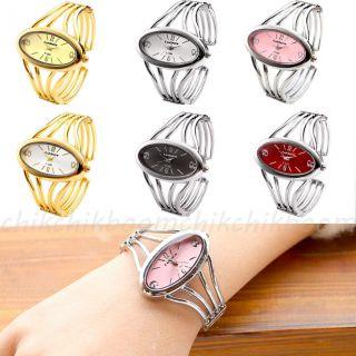 Damen Uhr Armbanduhr Armreifuhr Quarzuhr Armkette Legierung Gold/silber Geschenk Bild