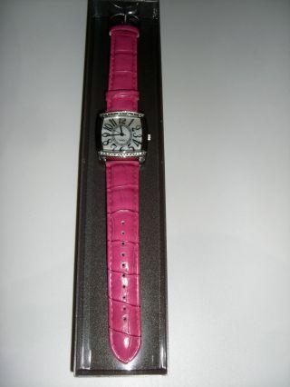 Avon Damen Armband Uhr Quarz Kunstleder Schick Sportlich Elegant Pink Strass Bild
