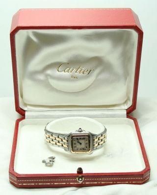 Cartier Panthere Uhr Damenuhr Stahl Gold Armbanduhr Quarz M.  Box Familienbetrieb Bild