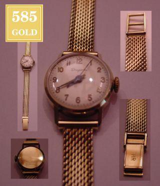 Dugena Damenuhr 14kt Massiv 585 Gold Uhr Klassisch Elegant RaritÄt Gg Luxus Uhr Bild