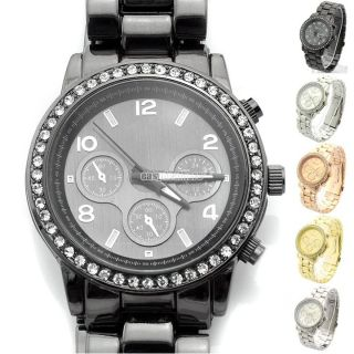 Metall Uhr Armbanduhr Watch Damen Herren Quarz Uhren Edelstahl Bunte Eh Mode Bild