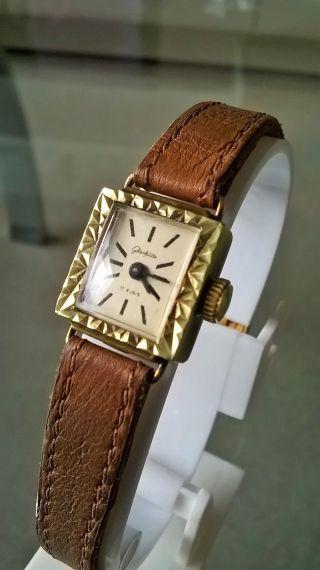 Glashütte Damen Armbanduhr Vergoldet Und 17 Steinen Top Bild