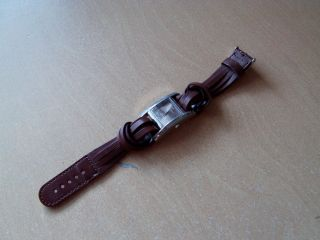 Bergmann 1914 Damen - Armbanduhr Braunes Geflochtenes Lederarmband Bild
