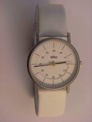 ° Braun Uhr Damenuhr Bn0011whwhl Edelstahl Matt,  Lederband Weiß Bild