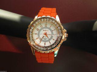 Designer Damenuhr,  Silikon Armband Uhr,  Strass,  Farbauswahl,  Gold Plattiert D64 Bild