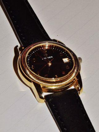 Damenarmbanduhr Etienne Aigner Gold / Neues Lederarmband Schwarz Uhr Damenuhr Bild
