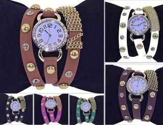 Vintage Armbanduhr Damenuhr Leder Nieten Bracelet Retro Strass Kette Punk Uhr Bild