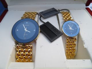 Rado Herren Damen Uhr Saphirglas Jubile Edelstahl Gold Brillianten Box Bild