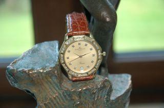 Baume Et Mercier Riviera 18kt 750 Gold Golduhr Luxus Uhr Brillantlünette, . Bild