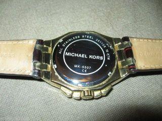 Michael Kors Damen Unisex Uhr Vergoldet Strass Chronographen Optik Lederarmband Bild