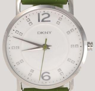 Dkny Donna Karan York Damenuhr / Damen Uhr Silikoband Strass Grün Ny8154 Bild