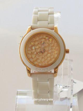 Dkny Damenuhr / Uhr Kunststoff Strass Rose Gold Weiß Ny8667 Bild