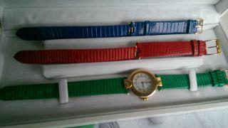Bucherer Damen Armbanduhr,  3x Eidechsenleder; Top Bild
