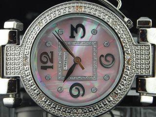 Damen - Weiß - Ton Jojino Joe Rodeo 0,  12 Ct.  Diamant - Rosa - Runde Gesichts - Uhr Mj1050 Bild