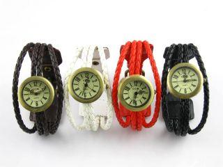 Damenuhr Armbanduhr Geflochten Uhr Rope Watch Schwarz Weiß Rot Braun Bild