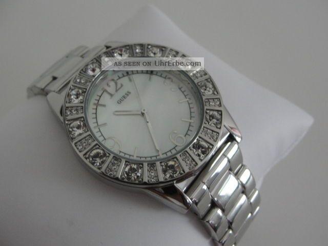guess damen uhr sparkle silver perlmutt ziffernblatt g86060l. Black Bedroom Furniture Sets. Home Design Ideas