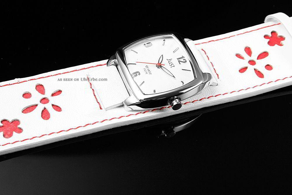 just damenuhr 48 s0050 wh rd unterlege armband leder weiss. Black Bedroom Furniture Sets. Home Design Ideas