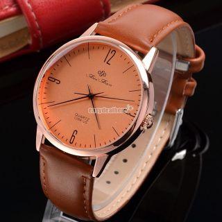 Kunstleder Armbanduhr Uhr Quarz Herren Damen Sports Luxus Quarzuhr Schnalle Eh Bild