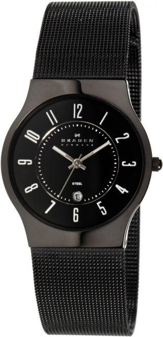 Armbanduhr Skagen 3 Zeiger Mit Datum Netz Damen 233mbb Bild