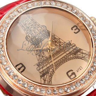 Damen Eiffelturm Uhr Armbanduhr Vintage Lederarmbanduhr Strass Quarzuhr Rot Bild